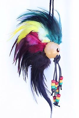"Rasta Ikaika Hawaiian Warrior Helmet Feathers Car Decor 1"" Kamani Nut ( QTY 2 )"