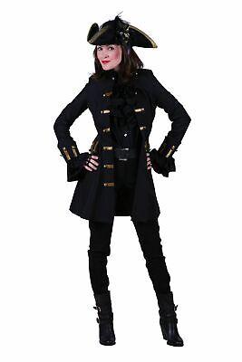 Deluxe Damen Gehrock Jane Alday Mantel Piratin Schwarz/Gold - Pirat Mantel Damen