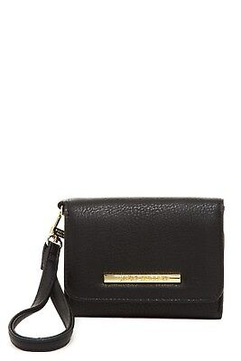 New Steve Madden French Wristlet Wallet NWT Tri-Fold BLACK/Gold $42 Great (French Tri Fold)