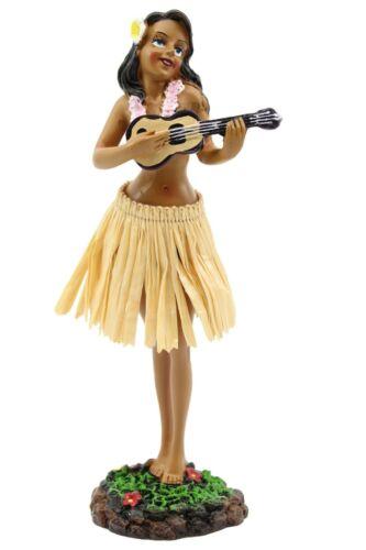 "Hawaiian Hula Lady w Ukulele Dashboard Doll - 7"" Doll, Hawaii Souvenir, Natural"