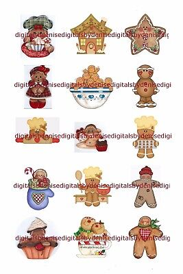 Christmas Gingerbread 1  Circles  Bottle Cap Images   2 45  5 50  Free Shipping