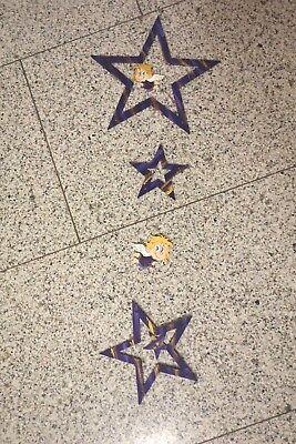 Weihnachtsdeko - Fensterdeko: Kette mit Sternen und Engelchen - lila/gold