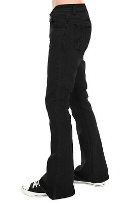 Mens Run & Fly 70s Retro Black Stretch Denim Rock N Roll Bell Bottom Flares