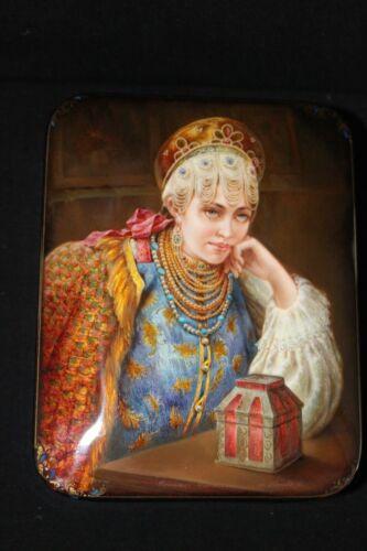 "RUSSIAN LACQUER BOX FEDOSKINO BELOVA MARGARITA ""BRIDE"" EXTRODINARY BEAUTIFUL"