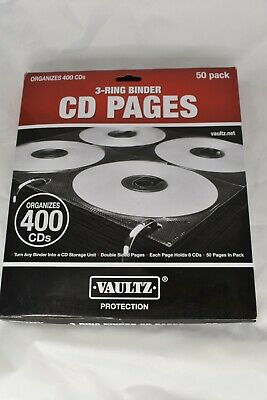 Two-sided Cd Refill Pages For Three-ring Binder 50pack