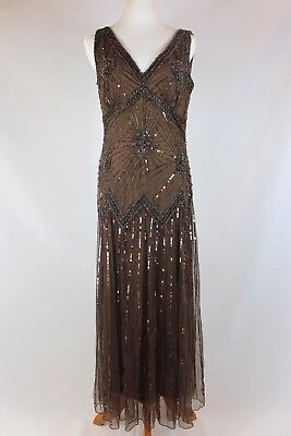 PISARRO NIGHTS Sleeveless V Neck Beaded Lace Dress Gown Chocolate Size 8-NWOT !!