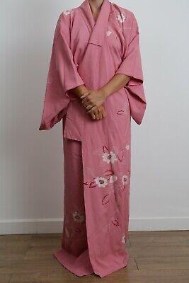 Authentic traditional vintage Japanese  kinsha silk pink floral shibori kimono