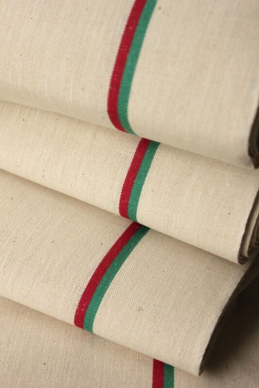 Vintage French Fabric unused linen & cotton red green stripes Christmas material
