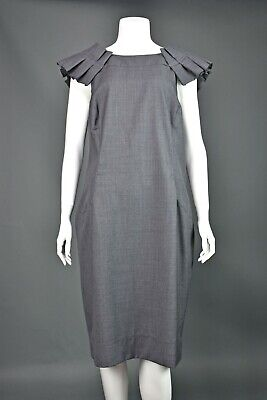 HUISHAN ZHANG Gray Tropical Wool Shift Dress SIZE 14 NWOT