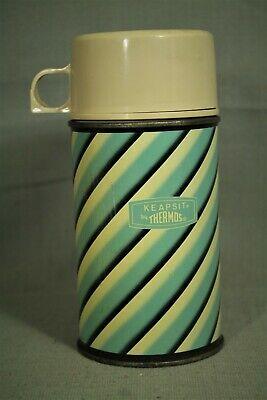 vintage old metal Keapsit King Seeley Thermos blue black beige swirl 6 3/4