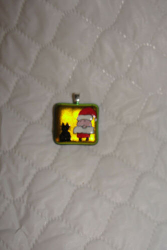 Handpainted Dichroic Glass Santa/Black Cat  Pendant