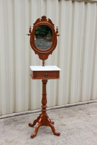 Fancy Walnut Victorian Renaissance Revival Marble Top Shaving Stand Ca.1870
