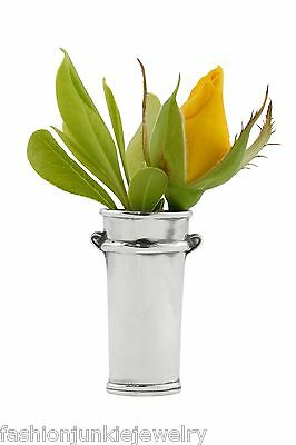 Antique Replica Flower Bucket Vase Lapel Pin - 925 Sterling Silver *NEW* Wedding