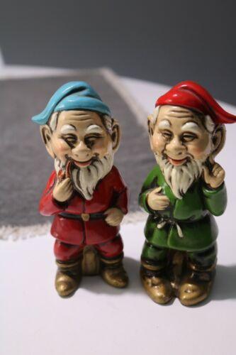 2 Vintage Painted Garden Gnome Pixies Elf Plaster Composition Figures Japan