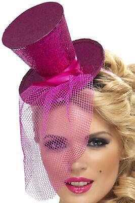 Hot Pink Glitter Mini Top Hat on a Headband (Pink Top Hat)