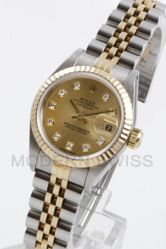 Rolex Ladies Datejust 18k Gold & Steel Champagne Diamond, Jubilee 69173 Quickset