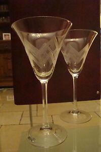 4 alte Wein Gläser, mit Schliff, ca. 1930-50er Jahre
