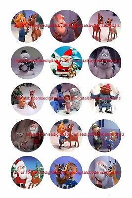 Rudolph Christmas 1  Circles  Bottle Cap Images   2 45  5 50    Free Shipping