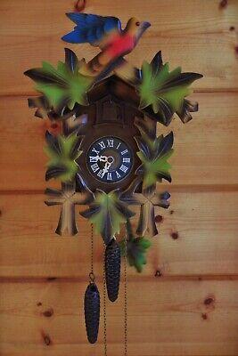 Vintage German Cuckoo Clock E. SCHMECKENBECHER - Green Leafs & Bird