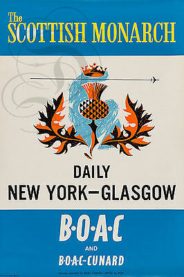Monarch Daily - REPRO DECO AFFICHE SCOTTISH MONARCH DAILY NEW YORK BOAC PAPIER 190 OU 310 GRS