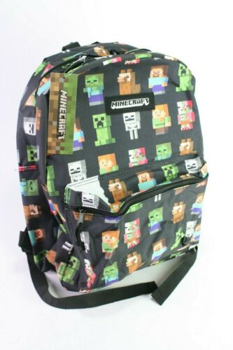 "NWT Minecraft Characters Backpack All Over Print 16"" Bookbag Tote"