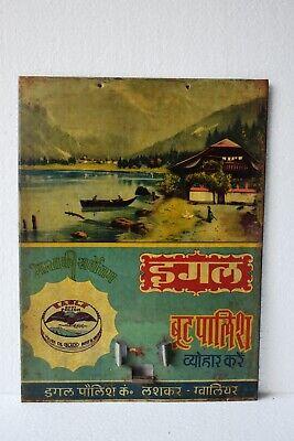 "Vintage Eagle Boot Polish Advertising Tin Sign Calendar Depicting Scenery Rare""1"