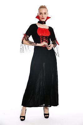 Kostüm Damen Frauen Halloween Böse Fee Vampirin Kleid lang schwarz rot Gr. S ()