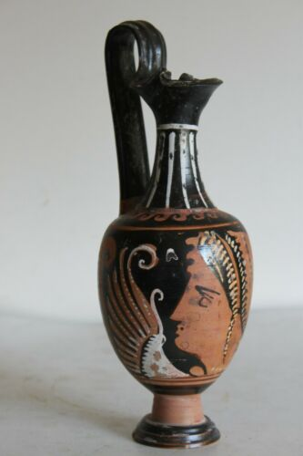 GOOD ANCIENT GREEK POTTERY RED FIGURE ONIOCHOE 4th CENTURY BC