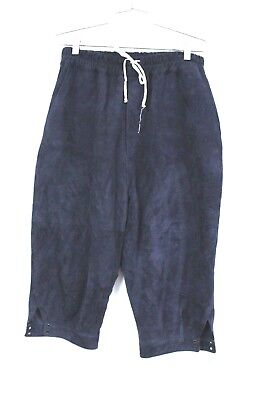 By Walid Designer Suede Cropped Drawstring Pants Knickers Navy Blue XL Mens