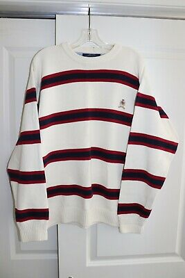 Mens Vintage Tommy Hilfiger striped pullover sweater tagged size L (see measurem
