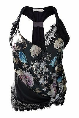 *PREEN BY THORNTON BREGAZZI* BLACK SILK AND LACE CAMISOLE (M)