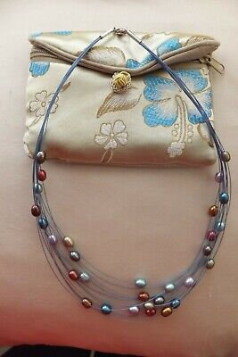 Honora Fresh Water Floating 12 Strand Multi Coloured Pearl Necklace New Cond