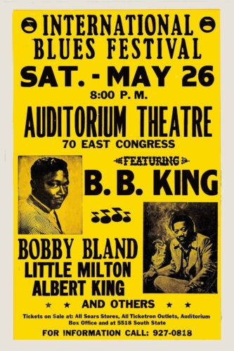 Blues: BB King & Bobby Blue Bland at Chicago Concert Poster 1970  12x18