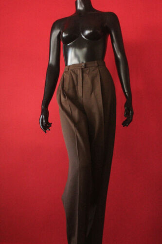 Rare Vintage Escada Brown Pleated Tailored High Waist Pants Womens Italy Size 44