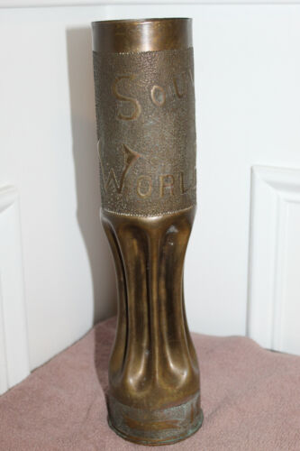"Original WW1 U.S. Brass Trench Art Item, ""Souvenir of World War 1914-1918"""