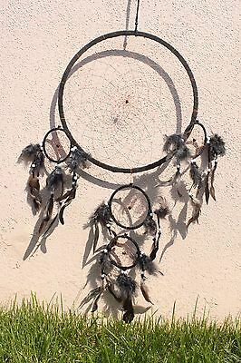 Large Black Dream Catcher Handmade w/ Leather & Feather Car Wall Decor ( Qty 2 )