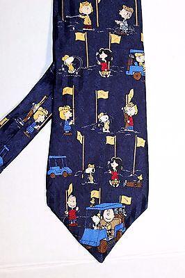 Peanuts Blue Golf Tie Men Charlie Brown Snoopy Lucy Golf Car