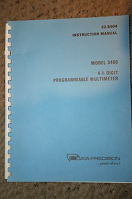 Data Precision 3400 4- Digit Programmable Multimeter Manual With Schematics