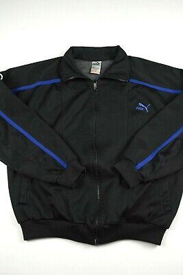Vintage Puma Track Jacket Mens Size L Black Blue Athletic Full Zip Color Block