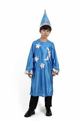 kids Child Blue Wizard Costume Robe Hat Gandalf Dumbledore Stars Moons