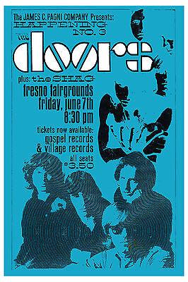 Classic Rock: Jim Morrison & Doors at Fresno Fairgrounds Concert Poster 1968