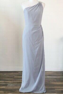After Six Platinum Bridesmaid's Dress Sz 6 Style 6688 Maxi Formal One Shoulder After Six Bridesmaid Dress
