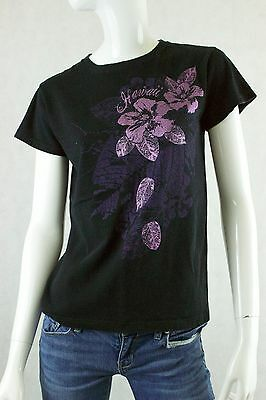 Womens Anvil Black Hawaii T Shirt Hibiscus Flowers Pre Shrunk Cotton Size Small