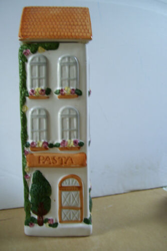 """Ceramic Pasta three-story house shaped 12"""" Tall canister jar good condition"""