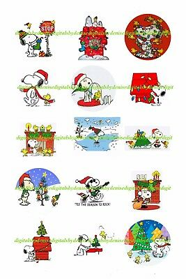 Snoopy Christmas 1  Circles  Bottle Cap Images   2 45  5 50 Ships Free