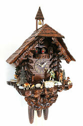 cuckoo clock hettich black forest 8 day original german hunter wood music new