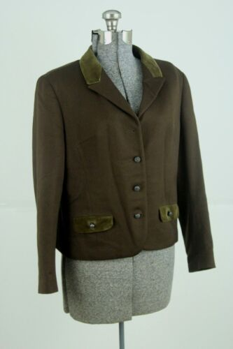 Tofana Womens Trachten Jacket Wool Size Medium Brown Bavarian German Blazer
