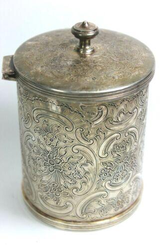 Vintage STERLING SILVER English Hallmark Pipe Tobacco Tin - Ornate & EMPTY