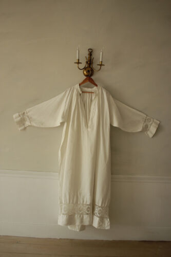 Antique French white linen night gown with lace cuffs large nightdress 1800