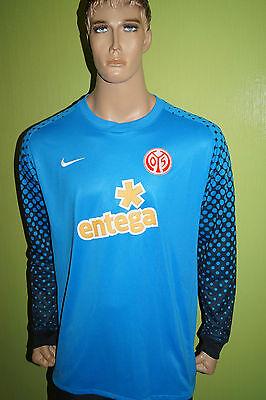 Nike Mainz 05 Torwart Trikot Jersey Maillot Gr L blau gepolsterte Ellenbogen